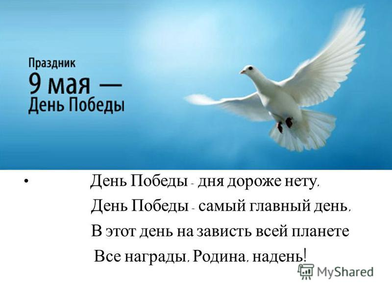 День Победы - дня дороже нету, День Победы - самый главный день, В этот день на зависть всей планете Все награды, Родина, надень !