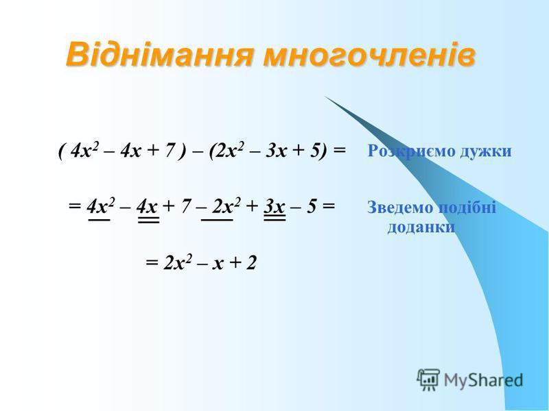 Віднімання многочленів ( 4х 2 – 4х + 7 ) – (2х 2 – 3х + 5) = = 4х 2 – 4х + 7 – 2х 2 + 3х – 5 = = 2х 2 – х + 2 Розкриємо дужки Зведемо подібні доданки
