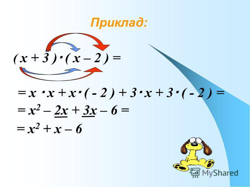 Приклад: ( х + 3 ) ( х – 2 ) = = х х + х ( - 2 ) + 3 х + 3 ( - 2 ) = = х 2 – 2х + 3х – 6 = = х 2 + х – 6