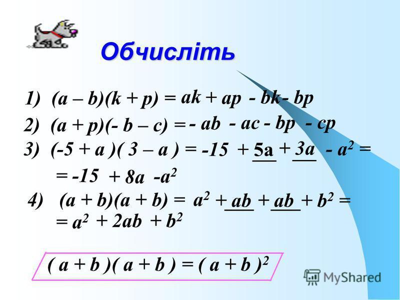Обчисліть 1) (а – b)(k + р) = аkаk + ар - bk- bр 2) (а + р)(- b – с) = - аb- аb - ас - bр - ср 3) (-5 + а )( 3 – а ) = -15 + 5а + 3а - а 2 = = -15 + 8а -а 2 4) (а + b)(а + b) = а2а2 + аb + b 2 = = а 2 + 2аb+ b 2 ( а + b )( а + b ) = ( а + b ) 2