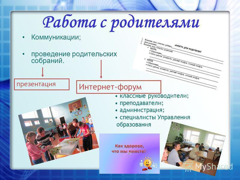 Работа с родителями Коммуникации; проведение родительских собраний. презентация Интернет-форум классные руководители; преподаватели; администрация; специалисты Управления образования