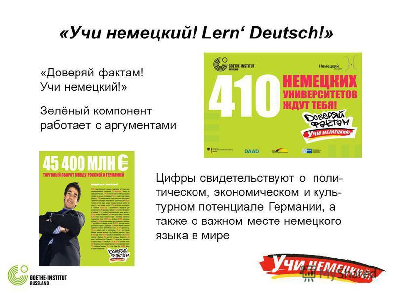 «Учи немецкий! Lern Deutsch!» «Доверяй фактам! Учи немецкий!» Зелёный компонент работает с аргументами Цифры свидетельствуют о политическом, экономическом и куль- турном потенциале Германии, а также о важном месте немецкого языка в мире