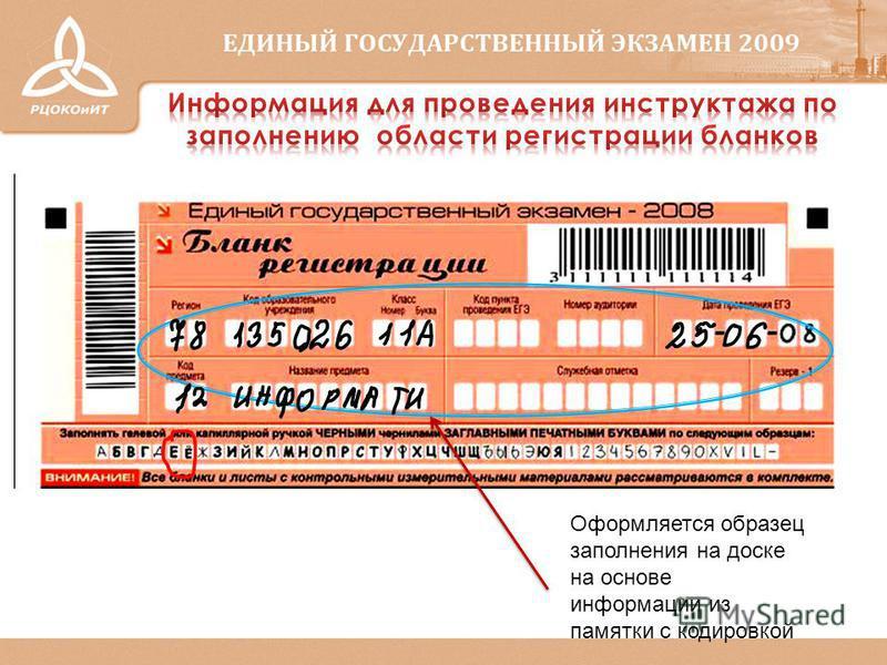 Оформляется образец заполнения на доске на основе информации из памятки с кодировкой
