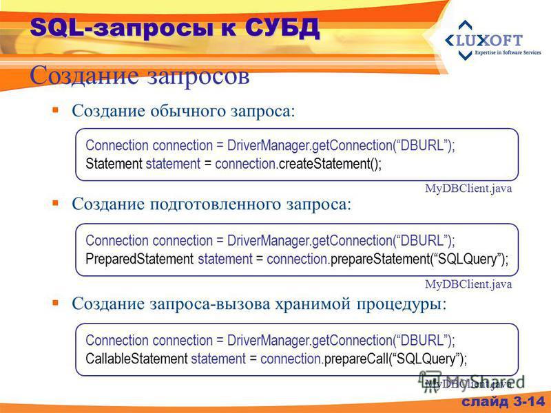 SQL-запросы к СУБД Создание обычного запроса: Создание запросов слайд 3-14 Connection connection = DriverManager.getConnection(DBURL); Statement statement = connection.createStatement(); MyDBClient.java Connection connection = DriverManager.getConnec