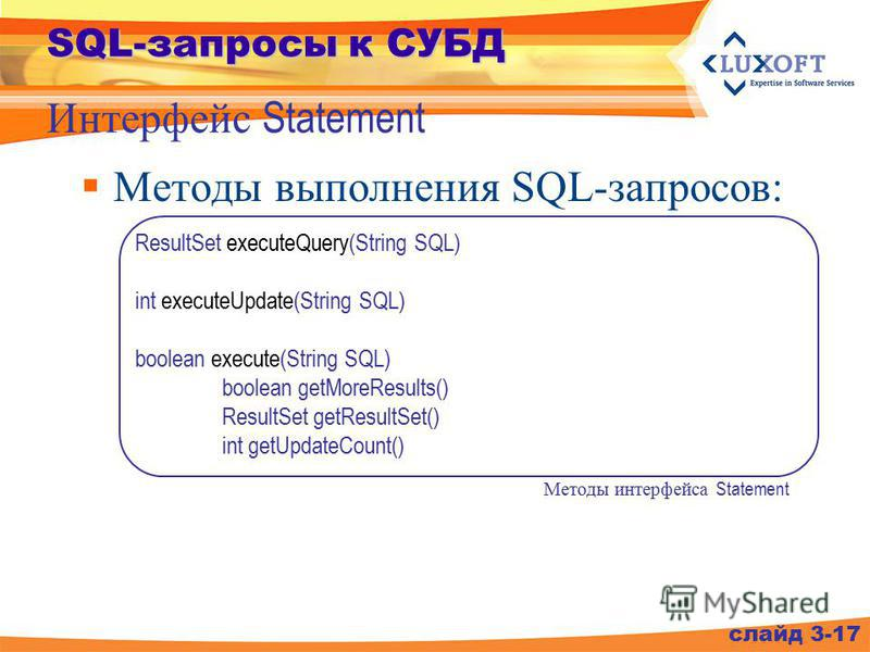 SQL-запросы к СУБД Методы выполнения SQL-запросов: Интерфейс Statement слайд 3-17 ResultSet executeQuery(String SQL) int executeUpdate(String SQL) boolean execute(String SQL) boolean getMoreResults() ResultSet getResultSet() int getUpdateCount() Мето
