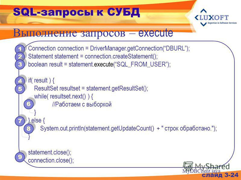 SQL-запросы к СУБД Выполнение запросов – execute слайд 3-24 Connection connection = DriverManager.getConnection(DBURL); Statement statement = connection.createStatement(); boolean result = statement.execute(SQL_FROM_USER); if( result ) { ResultSet re