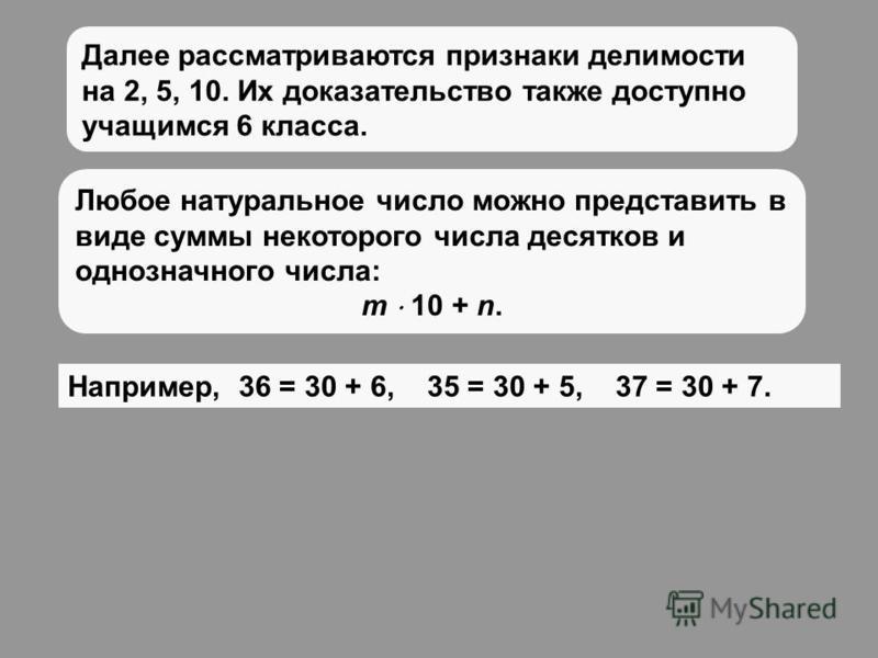 Далее рассматриваются признаки делимости на 2, 5, 10. Их доказательство также доступно учащимся 6 класса. Любое натуральное число можно представить в виде суммы некоторого числа десятков и однозначного числа: m 10 + n. Например, 36 = 30 + 6, 35 = 30