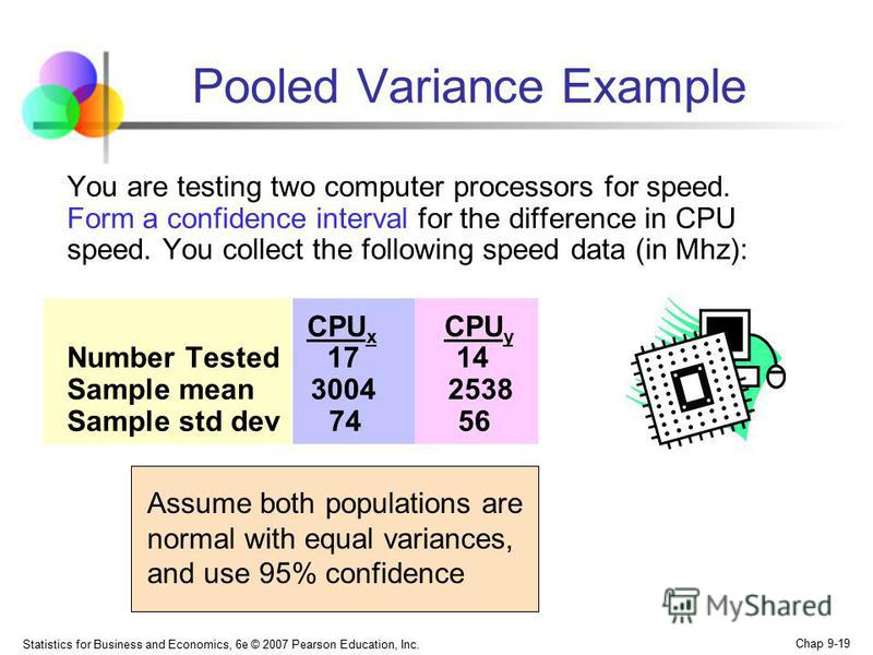 Statistics for Business and Economics, 6e © 2007 Pearson Education, Inc. Chap 9-19 Pooled Variance Example You are testing two computer processors for speed. Form a confidence interval for the difference in CPU speed. You collect the following speed