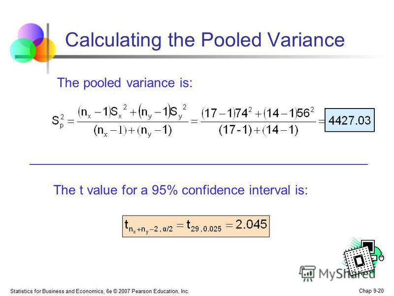 Statistics for Business and Economics, 6e © 2007 Pearson Education, Inc. Chap 9-20 Calculating the Pooled Variance The pooled variance is: The t value for a 95% confidence interval is: