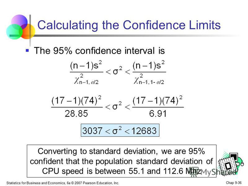 Statistics for Business and Economics, 6e © 2007 Pearson Education, Inc. Chap 9-36 Calculating the Confidence Limits The 95% confidence interval is Converting to standard deviation, we are 95% confident that the population standard deviation of CPU s