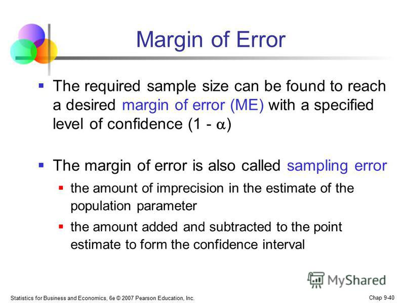 Statistics for Business and Economics, 6e © 2007 Pearson Education, Inc. Chap 9-40 Margin of Error The required sample size can be found to reach a desired margin of error (ME) with a specified level of confidence (1 - ) The margin of error is also c