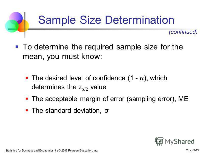 Statistics for Business and Economics, 6e © 2007 Pearson Education, Inc. Chap 9-43 To determine the required sample size for the mean, you must know: The desired level of confidence (1 - ), which determines the z /2 value The acceptable margin of err