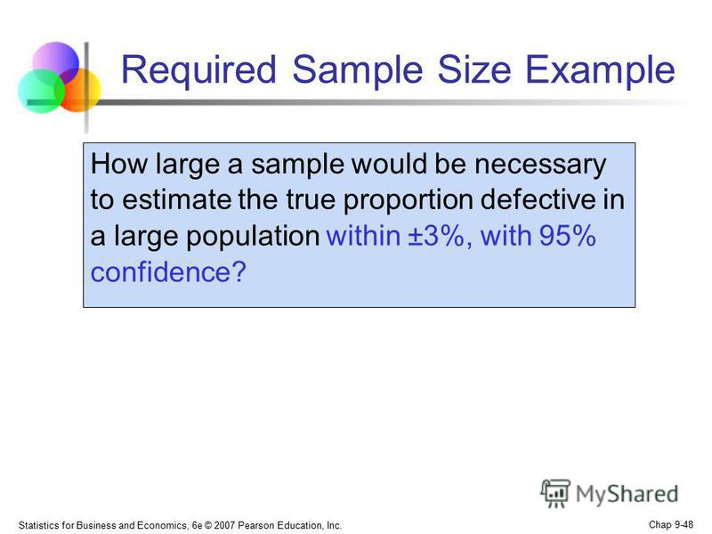 Statistics for Business and Economics, 6e © 2007 Pearson Education, Inc. Chap 9-48 Required Sample Size Example How large a sample would be necessary to estimate the true proportion defective in a large population within ±3%, with 95% confidence?