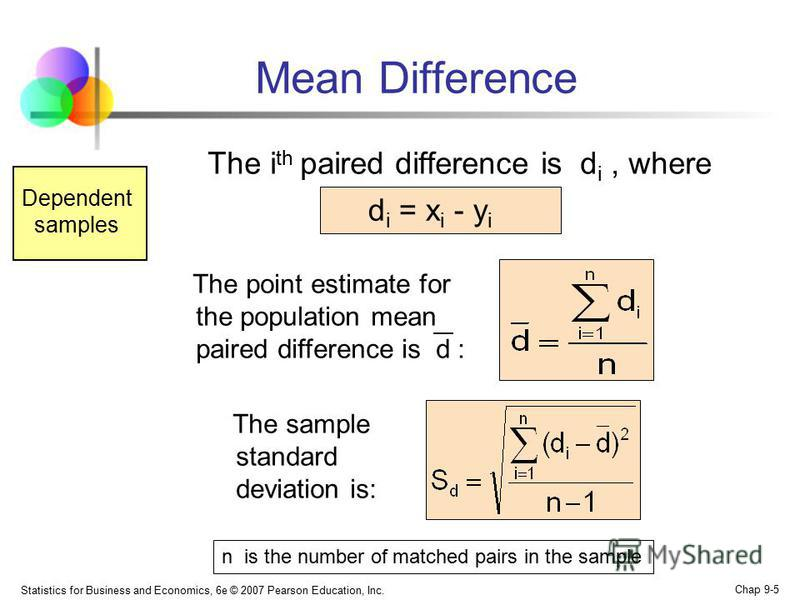 Statistics for Business and Economics, 6e © 2007 Pearson Education, Inc. Chap 9-5 Mean Difference The i th paired difference is d i, where d i = x i - y i The point estimate for the population mean paired difference is d : n is the number of matched