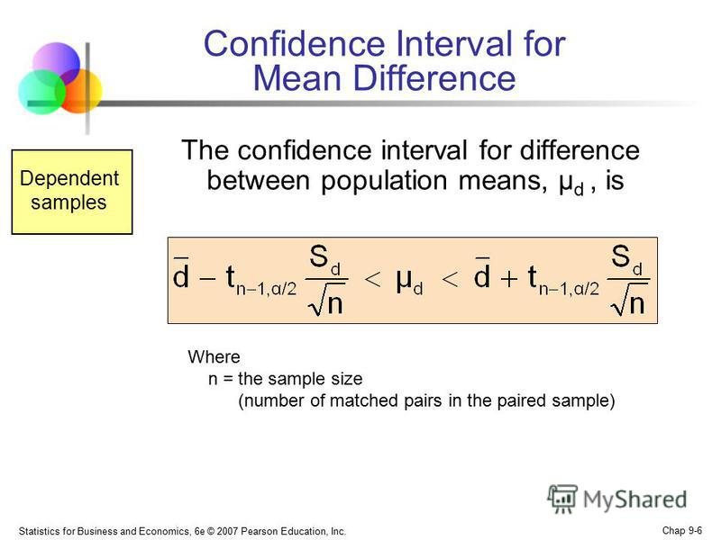 Statistics for Business and Economics, 6e © 2007 Pearson Education, Inc. Chap 9-6 Confidence Interval for Mean Difference The confidence interval for difference between population means, μ d, is Where n = the sample size (number of matched pairs in t