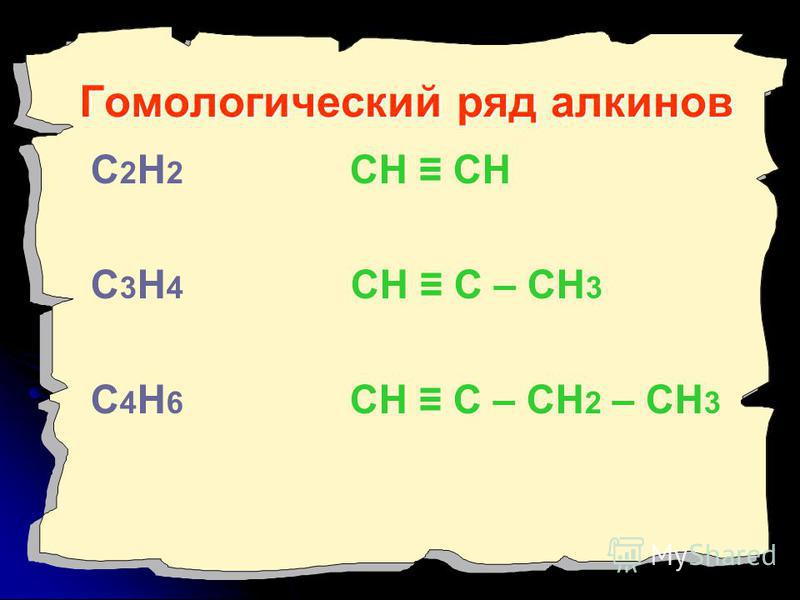 Гомологический ряд алкинов С 2 Н 2 СН СН С 3 Н 4 СН С – СН 3 С 4 Н 6 СН С – СН 2 – СН 3