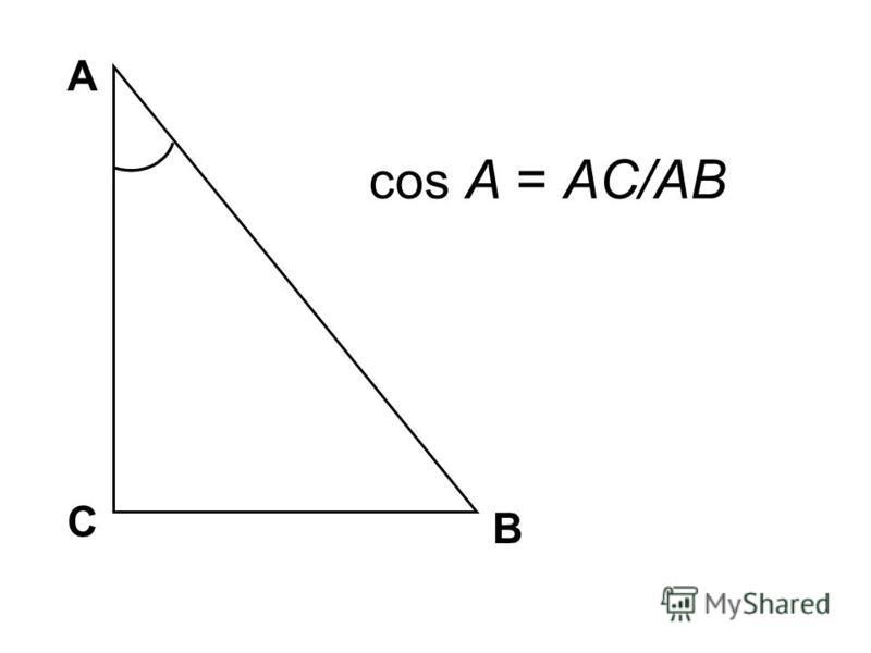 А В С cos A = AC/AB