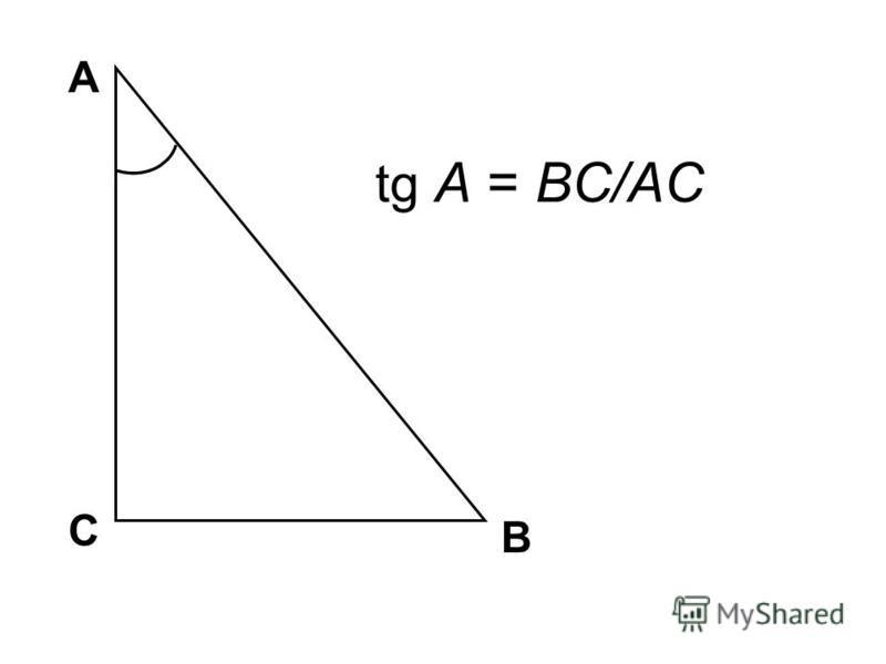 А В С tg A = BC/AC