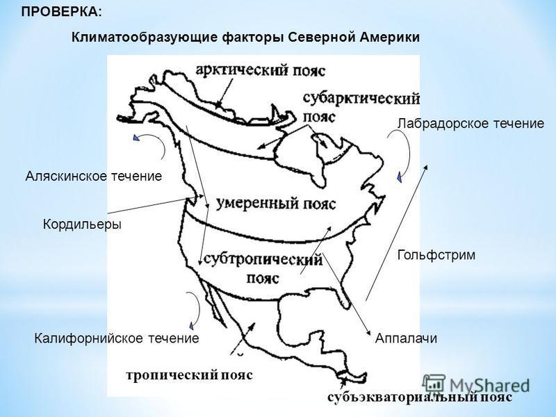 тропический пояс субъэкваториальный пояс ПРОВЕРКА: Климатообразующие факторы Северной Америки Аляскинское течение Калифорнийское течение Лабрадорское течение Гольфстрим Кордильеры Аппалачи