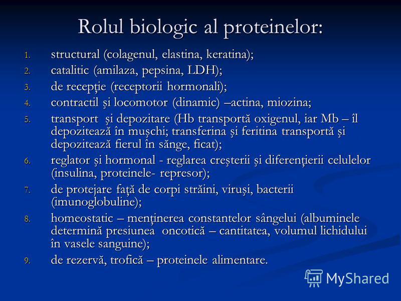 Rolul biologic al proteinelor: 1. structural (colagenul, elastina, keratina); 2. catalitic (amilaza, pepsina, LDH); 3. de recepţie (receptorii hormonali); 4. contractil şi locomotor (dinamic) –actina, miozina; 5. transport şi depozitare (Hb transport