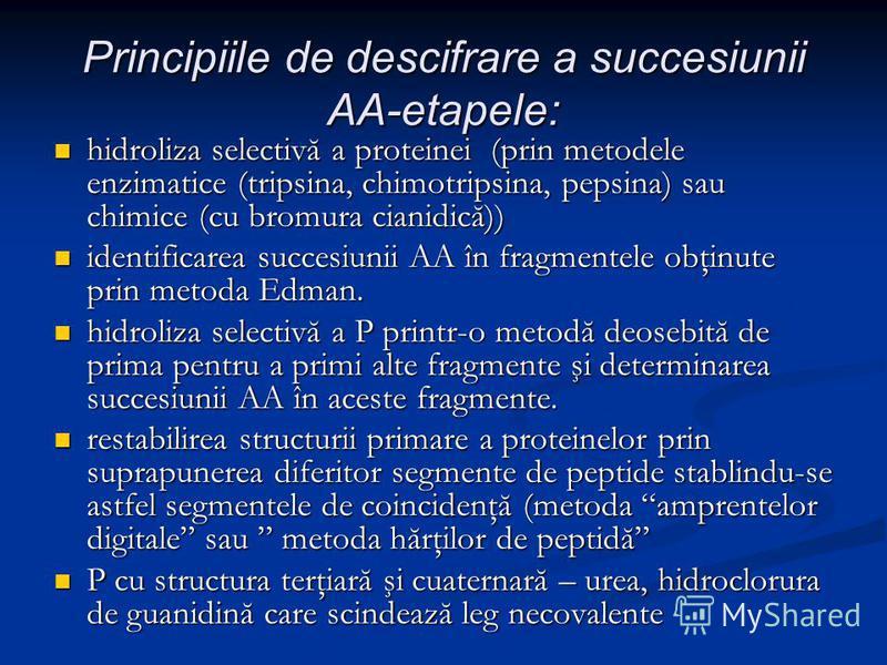 Principiile de descifrare a succesiunii AA-etapele: hidroliza selectivă a proteinei (prin metodele enzimatice (tripsina, chimotripsina, pepsina) sau chimice (cu bromura cianidică)) hidroliza selectivă a proteinei (prin metodele enzimatice (tripsina,