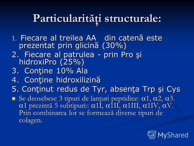 Particularităţi structurale: 1. Fiecare al treilea AA din catenă este prezentat prin glicină (30%) 2. Fiecare al patrulea - prin Pro şi hidroxiPro (25%) 3. Conţine 10% Ala 4. Conţine hidroxilizină 5. Conţinut redus de Tyr, absenţa Trp şi Cys Se deose