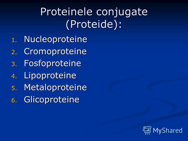 Proteinele conjugate (Proteide): 1. Nucleoproteine 2. Cromoproteine 3. Fosfoproteine 4. Lipoproteine 5. Metaloproteine 6. Glicoproteine