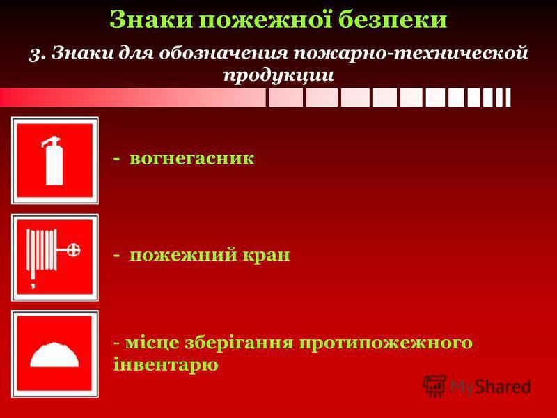 3. Знаки для обозначения пожарно-технической продукции - вогнегасник - пожежний кран - місце зберігання протипожежного інвентарю Знаки пожежної безпеки