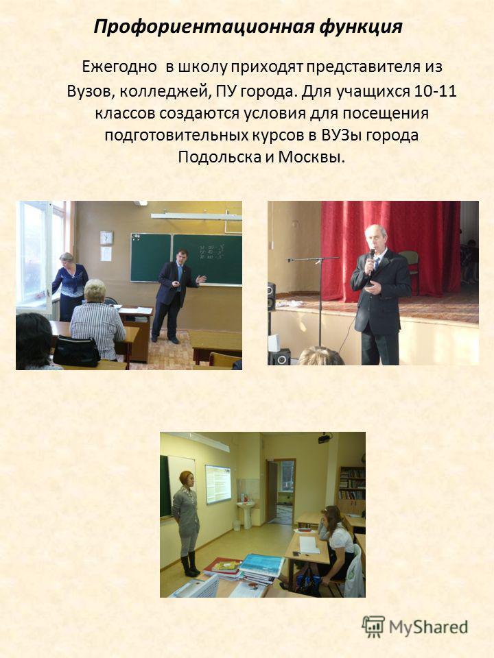 Профориентационная функция Ежегодно в школу приходят представителя из Вузов, колледжей, ПУ города. Для учащихся 10-11 классов создаются условия для посещения подготовительных курсов в ВУЗы города Подольска и Москвы.
