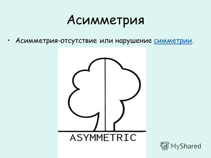 Асимметрия Асимметрия-отсутствие или нарушение симметрии.симметрии