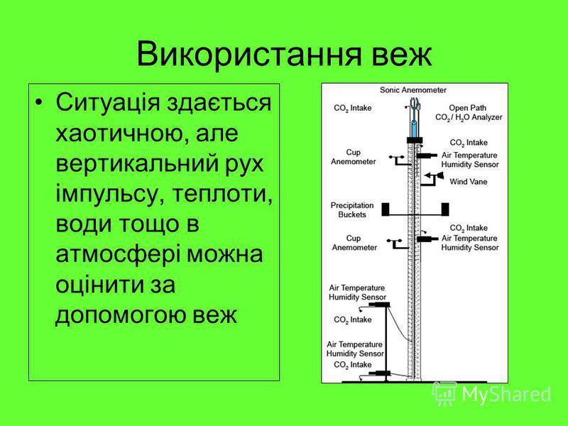 Використання веж Ситуація здається хаотичною, але вертикальний рух імпульсу, теплоти, води тощо в атмосфері можна оцінити за допомогою веж