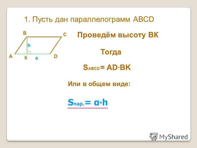 1. Пусть дан параллелограмм АВСD DА В С Проведём высоту ВК К Тогда S ABCD = ADBK Или в общем виде: S пар. = αh a h