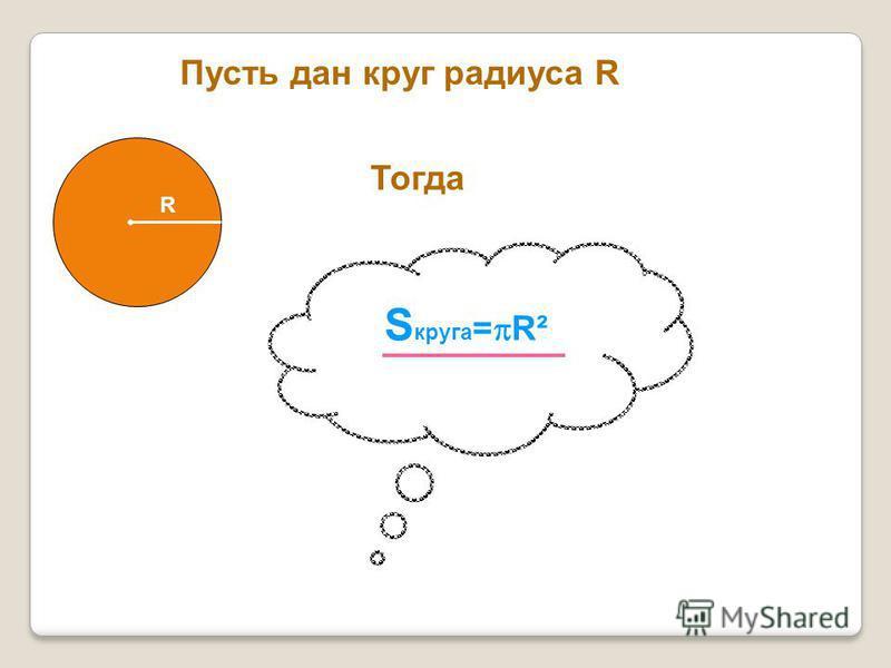 Пусть дан круг радиуса R R Тогда S круга = R²