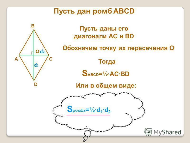Пусть дан ромб ABCD A B C D Пусть даны его диагонали АС и ВD Обозначим точку их пересечения О О Тогда S ABCD =½ACBD Или в общем виде: S ромба =½d 1 d 2 d1d1 d2d2