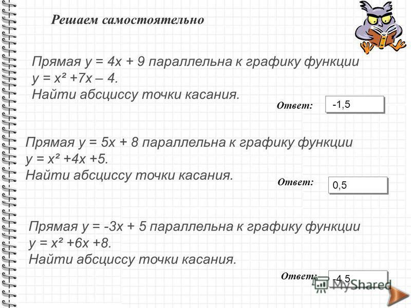 Решаем самостоятельно Прямая у = 4 х + 9 параллельна к графику функции у = х² +7 х – 4. Найти абсциссу точки касания. Прямая у = 5 х + 8 параллельна к графику функции у = х² +4 х +5. Найти абсциссу точки касания. Прямая у = -3 х + 5 параллельна к гра