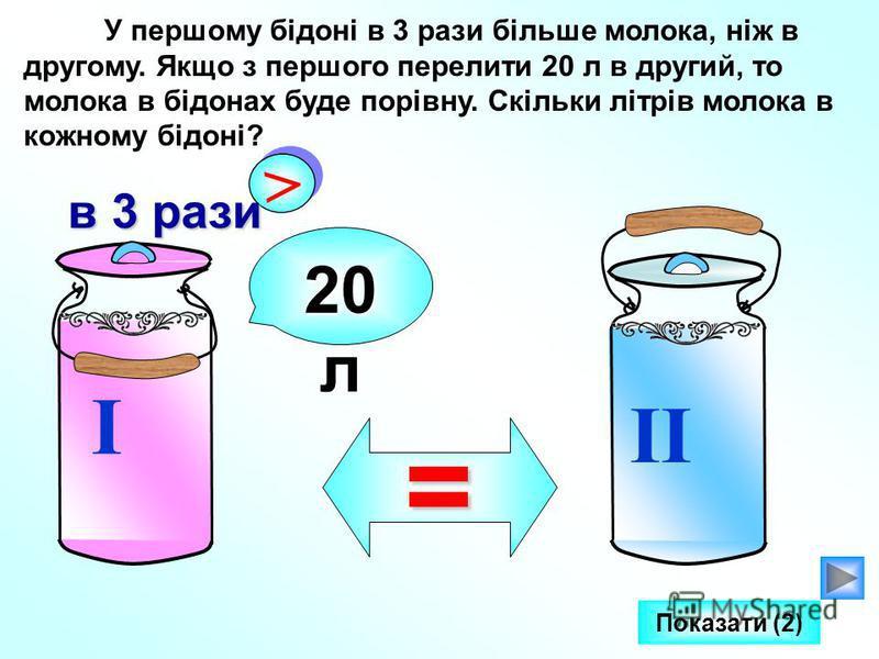 У першому бідоні в 3 рази більше молока, ніж в другому. Якщо з першого перелити 20 л в другий, то молока в бідонах буде порівну. Скільки літрів молока в кожному бідоні? I II > > в 3 рази 20 л = Показати (2)