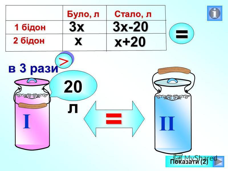 I II > > в 3 рази 20 л =х 3х3х-20 х+20 Було, л 1 бідон 2 бідон Стало, л = Показати (2)