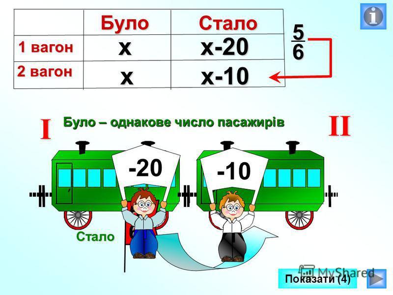 Було – однакове число пасажирів I II Стало56 -20-10 Показати (4)х хх-20 х-10Було 1 вагон 2 вагон Стало 56