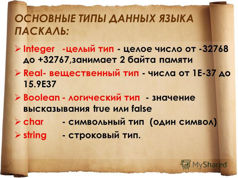 ОСНОВНЫЕ ТИПЫ ДАННЫХ ЯЗЫКА ПАСКАЛЬ: Integer-целый тип - целое число от -32768 до +32767,занимает 2 байта памяти Real- вещественный тип - числа от 1Е-37 до 15.9Е37 Boolean- логический тип - значение высказывания true или false char- символьный тип (од