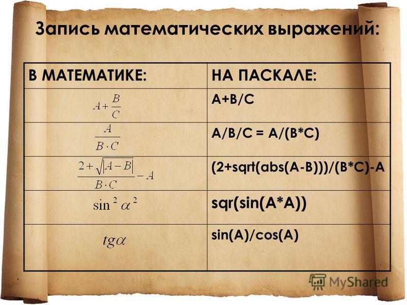 Запись математических выражений: В МАТЕМАТИКЕ:НА ПАСКАЛЕ: A+B/CA+B/C A/B/C = A/(B*C) (2+sqrt(abs(A-B)))/(B*C)-A sqr(sin(A*A)) sin(A)/cos(A)