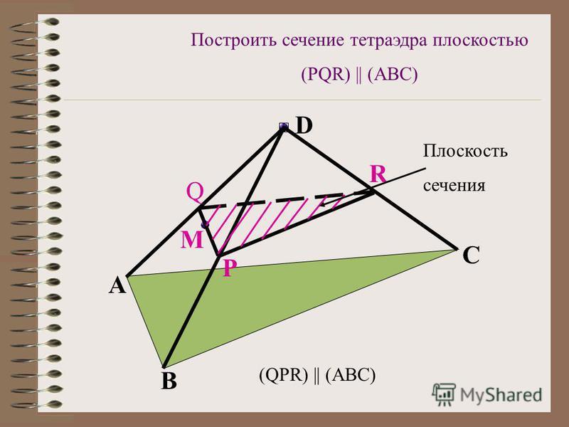 Q P M R A B C D (QPR) || (ABC) Плоскость сечения Построить сечение тетраэдра плоскостью (PQR) || (ABC)