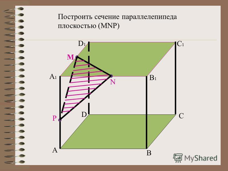 A B C D A1A1 D1D1 C1C1 B1B1 M N P Построить сечение параллелепипеда плоскостью (MNP)