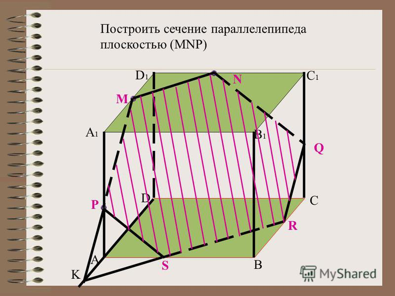 A B C D A1A1 D1D1 C1C1 B1B1 M N P Построить сечение параллелепипеда плоскостью (MNP) Q R S K