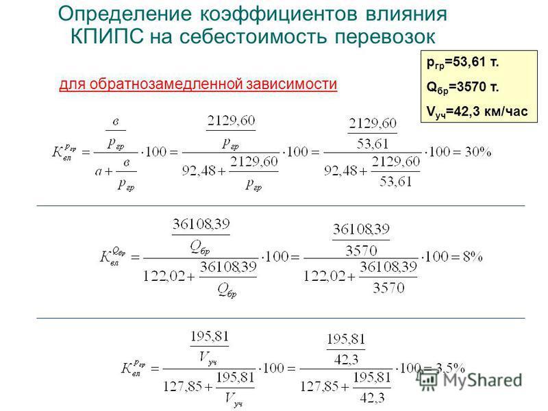 Определение коэффициентов влияния КПИПС на себестоимость перевозок для обратно замедленной зависимости p гр =53,61 т. Q бр =3570 т. V уч =42,3 км/час