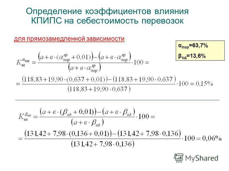 Определение коэффициентов влияния КПИПС на себестоимость перевозок для прямо замедленной зависимости α пор =63,7% β од =13,6%