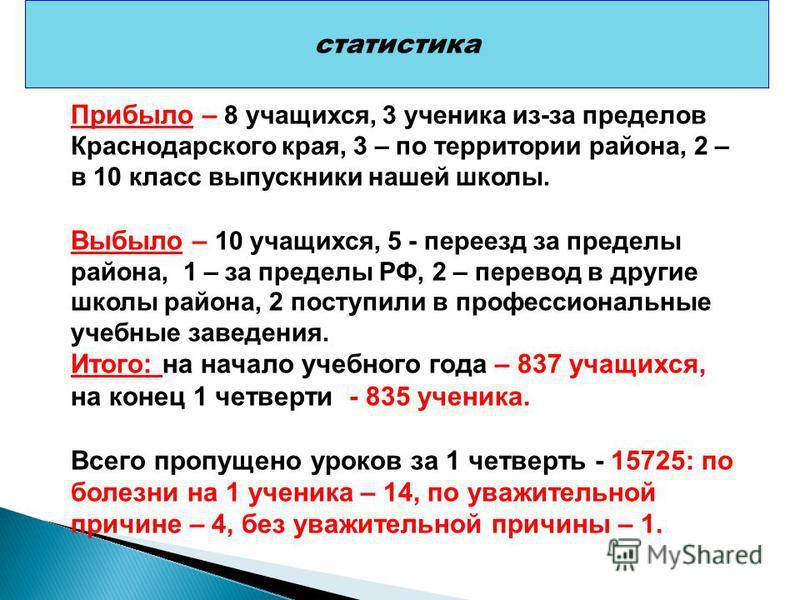 Прибыло учащихся статистика Прибыло – 8 учащихся, 3 ученика из-за пределов Краснодарского края, 3 – по территории района, 2 – в 10 класс выпускники нашей школы. Выбыло – 10 учащихся, 5 - переезд за пределы района, 1 – за пределы РФ, 2 – перевод в дру