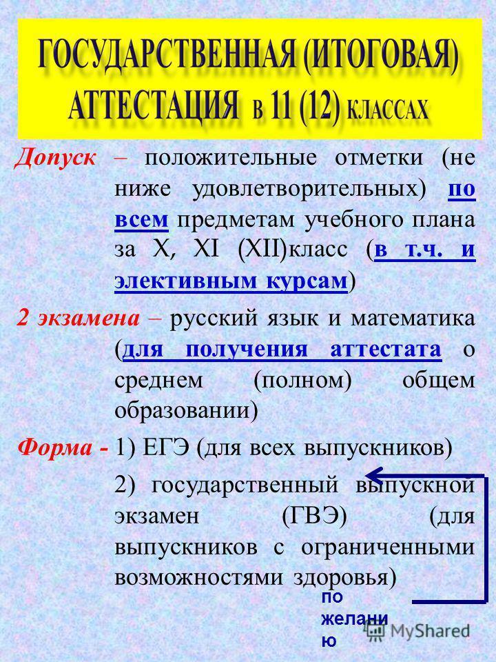Допуск – положительные отметки ( не ниже удовлетворительных ) по всем предметам учебного плана за X, XI (XII) класс ( в т. ч. и элективным курсам ) 2 экзамена – русский язык и математика ( для получения аттестата о среднем ( полном ) общем образовани