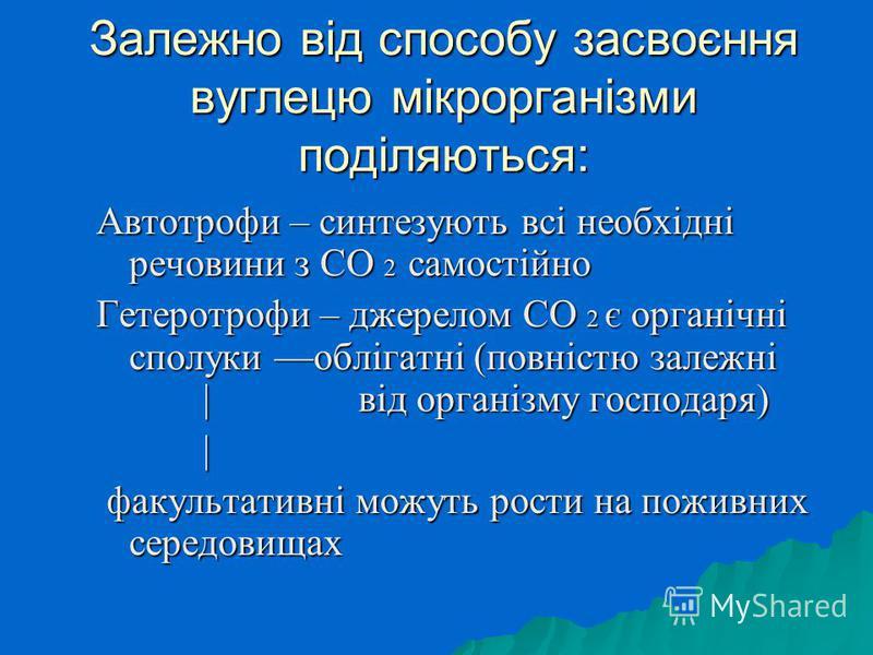 Залежно від способу засвоєння вуглецю мікрорганізми поділяються: Автотрофи – синтезують всі необхідні речовини з СО 2 самостійно Гетеротрофи – джерелом СО 2 є органічні сполуки облігатні (повністю залежні |від організму господаря) | факультативні мож