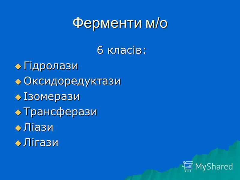 Ферменти м/о 6 класів: 6 класів: Гідролази Гідролази Оксидоредуктази Оксидоредуктази Ізомерази Ізомерази Трансферази Трансферази Ліази Ліази Лігази Лігази