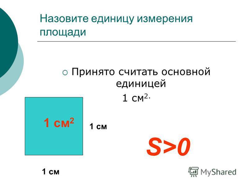 Назовите единицу измерения площади Принято считать основной единицей 1 см 2. 1 см 1 см 2 S>0